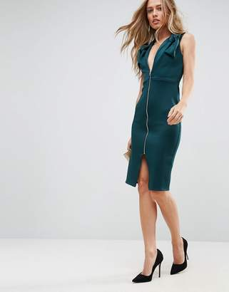 Asos Design Deep Plunge Bow Front Midi Bodycon Dress