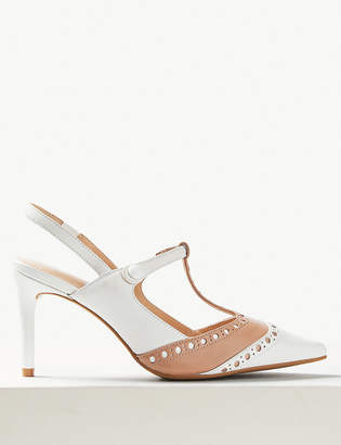 Marks and Spencer Leather Stiletto Heel T-Bar Slingback Shoes