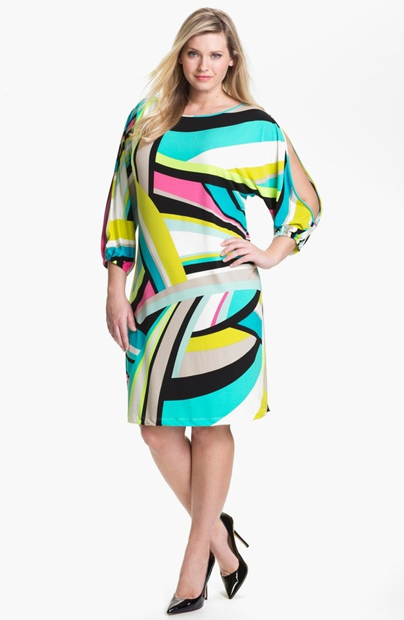 Calvin Klein Geo Print Shift Dress (Plus)