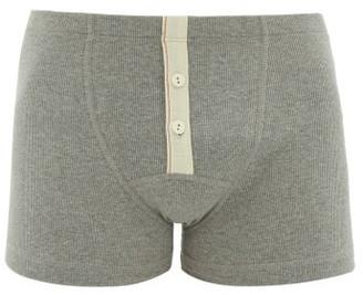 Hemen Biarritz - Albar Ribbed Organic Cotton Blend Boxer Briefs - Mens - Grey