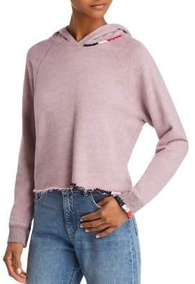 Sundry Raw-Edge Cropped Hooded Sweatshirt