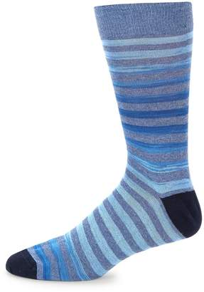 Saks Fifth Avenue Made in Italy Men's Rugby Stripe Cotton Socks