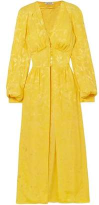 ATTICO Satin-Jacquard Midi Dress