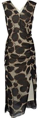 Marni Ruched Printed Silk-Georgette Dress