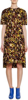 Marni Short-Sleeve Crewneck A-Line Printed Cotton Woven Dress
