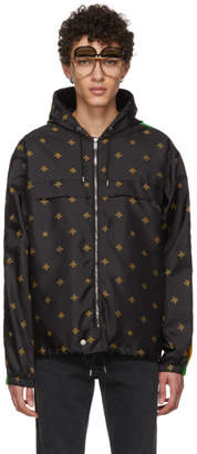 Gucci Black Nylon Bee Hooded Jacket