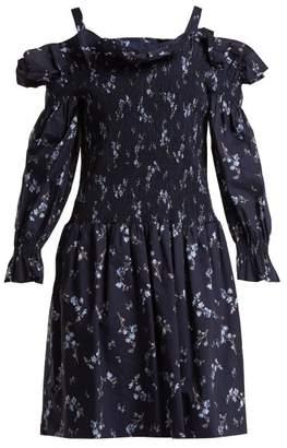 Rebecca Taylor Francine Off The Shoulder Cotton Dress - Womens - Navy Print