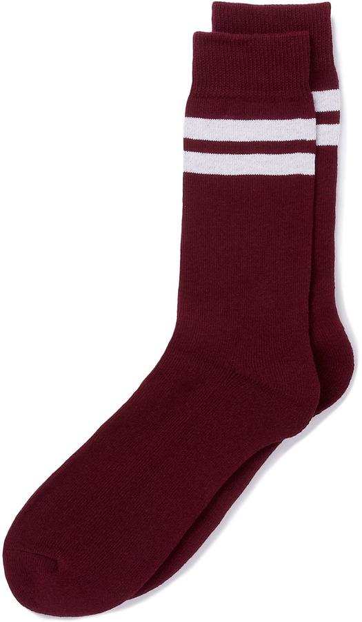 Topman Burgundy Stripe Tube Socks