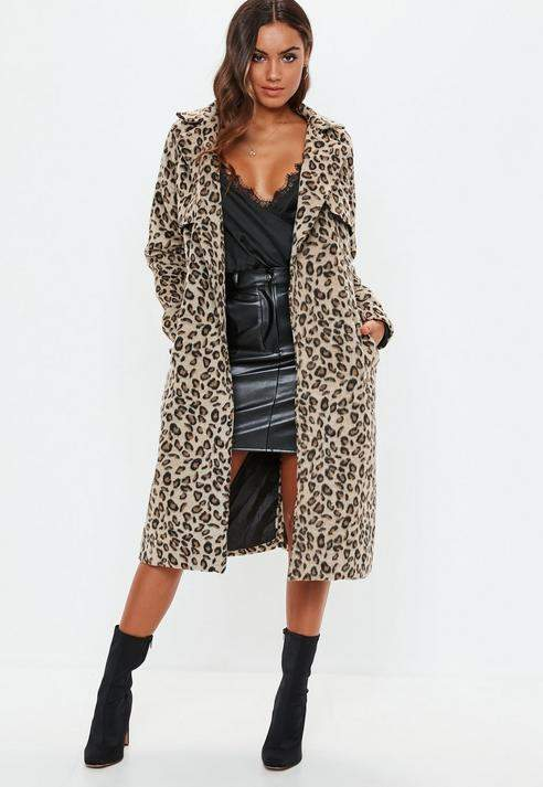 Brown Leopard Belted Faux Wool Trench, Brown