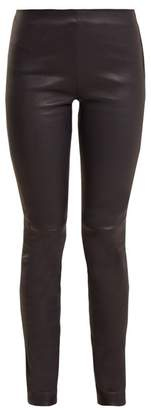 Raey Stretch Leather Leggings - Womens - Navy