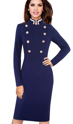 Vins Retro Long Sleeve Solid Color Collar Double Breasted Buttons Vestidos Business Dress S