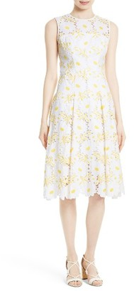 Women's Milly Petal Eyelet Fit & Flare Dress $650 thestylecure.com