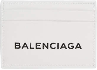 Balenciaga White Logo Card Holder