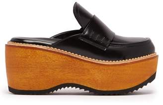 Marni - Leather And Wood Slip On Flatform Loafers - Womens - Black