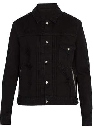 Balmain Distressed Denim Jacket - Mens - Black