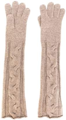 Loro Piana cable knit long gloves