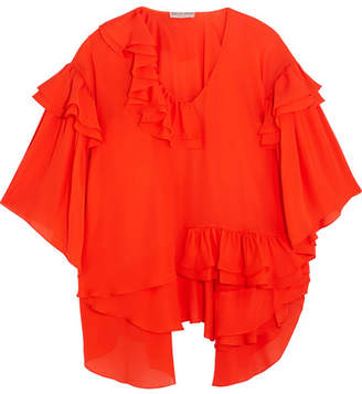 Emilio Pucci - Ruffled Silk-chiffon Blouse - Red $2,430 thestylecure.com