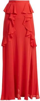 Elie Saab Ruffle silk-blend skirt