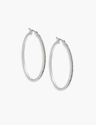 Lucky Brand Silver Pave Hoop Earring