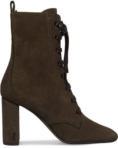 Saint Laurent - Loulou Lace-up Suede Ankle Boots - Army green