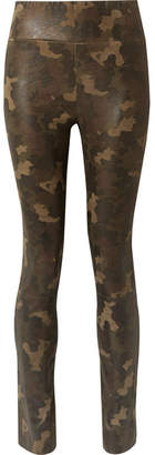 Sprwmn Camouflage-print Suede Leggings - Army green