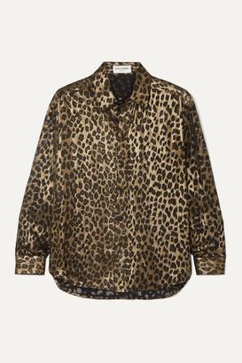 Saint Laurent Leopard-print Silk-blend Shirt - Black