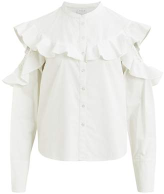 Vila Cold Shoulder Ruffled Shirt