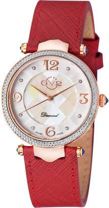 Gv2 Swiss Quartz Sassari Burgundy Diamond Leather Strap Watch