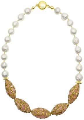 Farra Freshwater Pearls With Rhinestone Bordered Rose Quartz Short Necklace