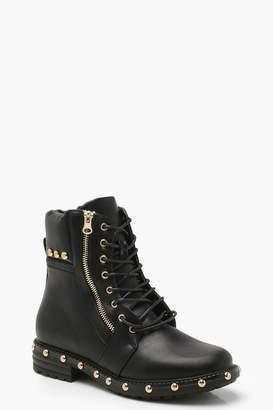 boohoo Studded Hiker Boots
