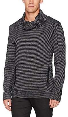 Calvin Klein Men's Long Sleeve Marled Stripe Funnel Neck Pullover Sweater