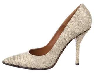 Givenchy Lizard Pointed-Toe Pumps