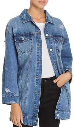 AVEC LES FILLES Embellished Distressed Denim Jacket - 100% Exclusive