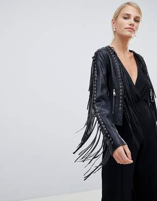 Forever Unique Tassel Fringing PU Jacket