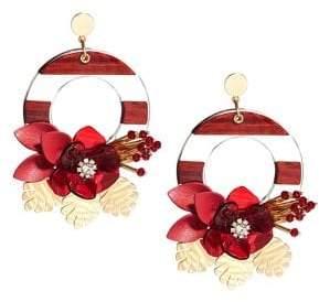 Kate Spade Slice of Stone Floral Drop Hoop Earrings