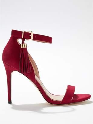 Miss Selfridge Tassel Stiletto 2 Strap Heeled Shoes - Red