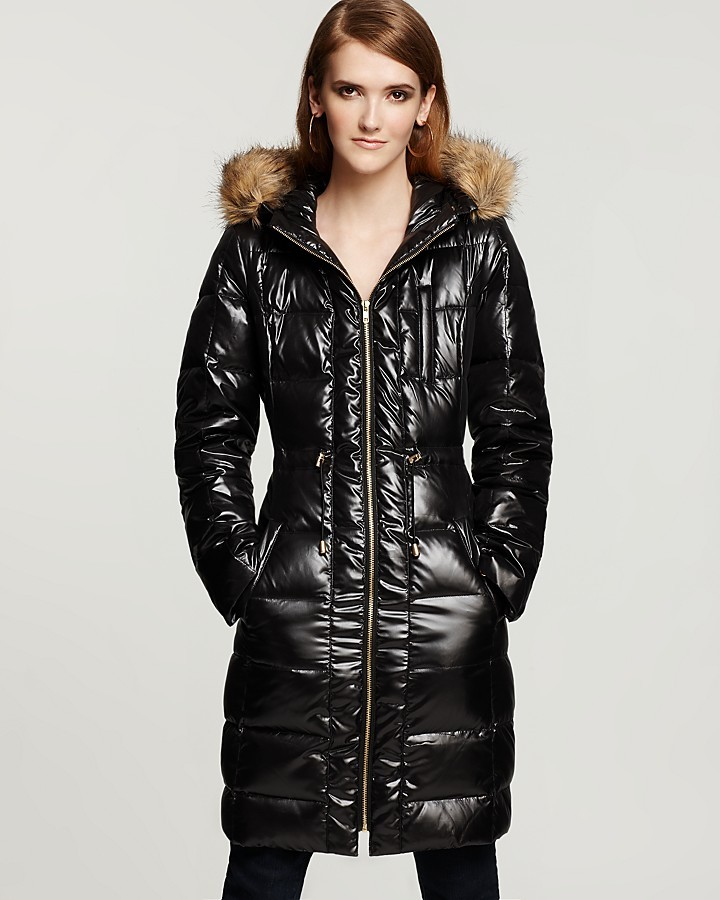 Aqua Shiny Channel-Quilted Hooded Puffer Coat