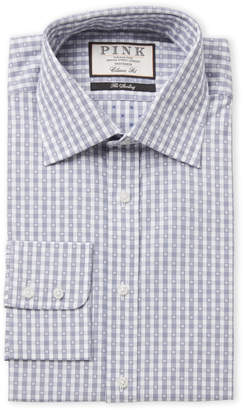 Thomas Pink Navy & White Check Classic Fit Dress Shirt
