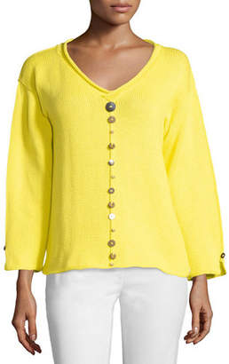 Neon Buddha Iris Pullover Top with Buttons, Plus Size