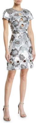 Michael Kors Summer-Floral Metallic Brocade Cutout Shift Dress