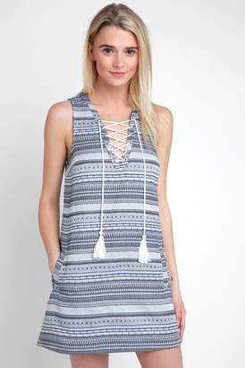 BB Dakota Sleeveless Jacquard Dress With Lace Up Tassels