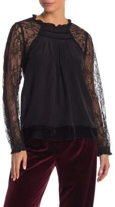 Hale Bob Silk Lace Sleeve Blouse