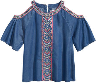 Epic Threads Embroidered Cold Shoulder Top, Big Girls, Created for Macy's