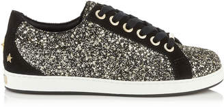 Jimmy Choo CASH/F Gold Mix Star Coarse Glitter Fabric Low Top Trainers