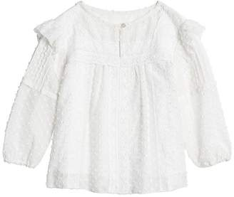 Burberry Ruffle Detail Cotton Silk Blend Top