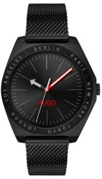 Black-plated watch with engraved city names and mesh strap