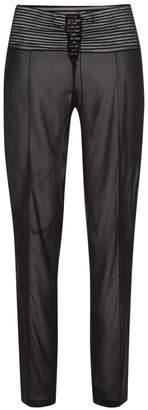 La Perla Garnet Black Silk Georgette Pyjama Trousers With Soutache Embroidery