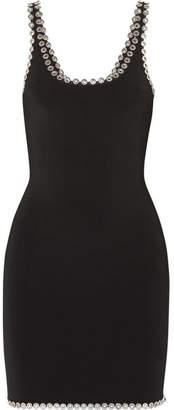 Alexander Wang Eyelet-embellished Stretch-knit Mini Dress - Black