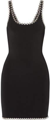 Alexander Wang Eyelet-embellished Stretch-knit Mini Dress - Black