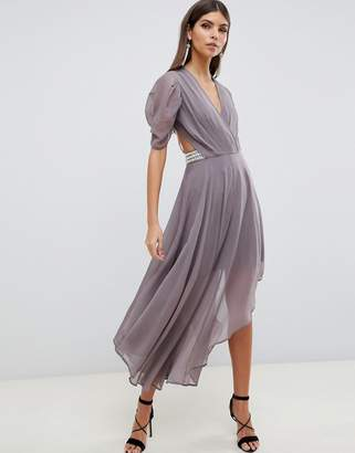 Asos DESIGN floaty soft midi dress with back pearl detail